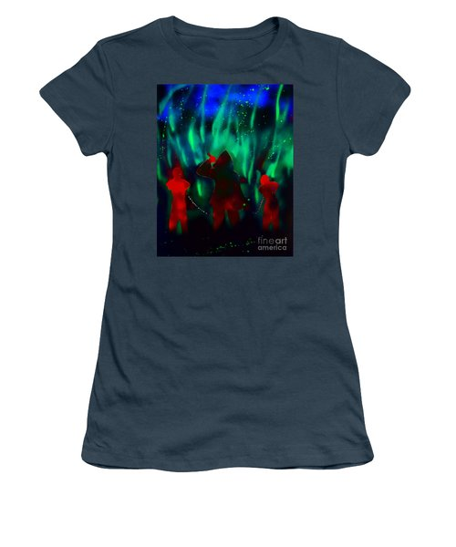 Green Flames In The Night Women's T-Shirt (Junior Cut) by Justin Moore