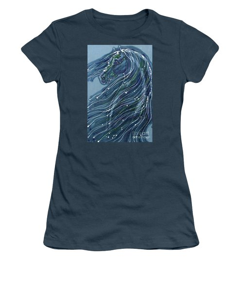 Green Horse With Flying Mane Women's T-Shirt (Junior Cut)