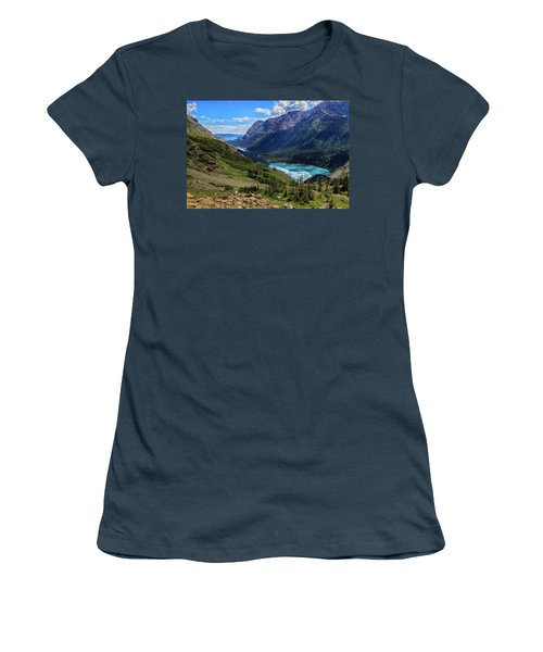 Grinell Hike In Glacier National Park Women's T-Shirt (Junior Cut) by Andres Leon