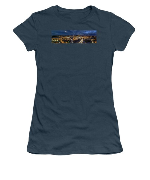 Women's T-Shirt (Junior Cut) featuring the photograph Hartford Ct Night Panorama by Petr Hejl