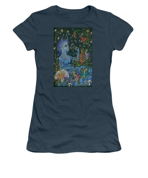 Women's T-Shirt (Junior Cut) featuring the drawing Her Caterpillar Majesty by Dawn Fairies