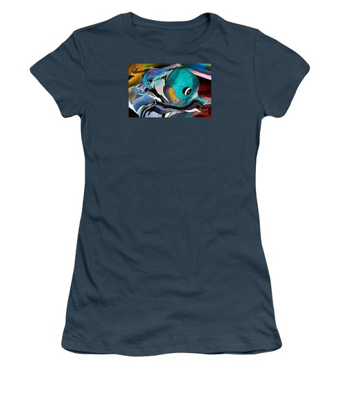 Women's T-Shirt (Junior Cut) featuring the painting Hey Guy I Am Silly Willy The Fish by Sherri  Of Palm Springs