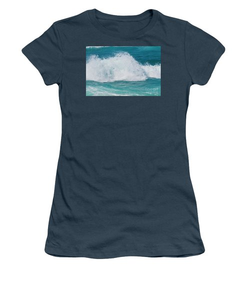 Women's T-Shirt (Junior Cut) featuring the photograph Hookipa Splash Waves Beach Break Shore Break Pacific Ocean Maui  by Sharon Mau
