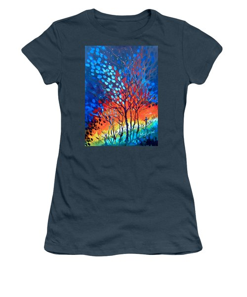 Women's T-Shirt (Junior Cut) featuring the painting Horizons by Linda Shackelford