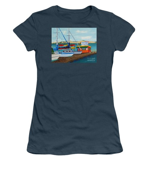 Women's T-Shirt (Junior Cut) featuring the painting Kayak Shack Morro Bay California by Katherine Young-Beck