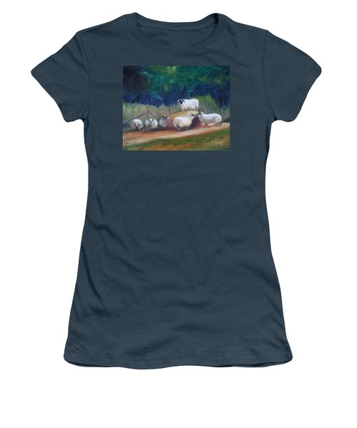 Women's T-Shirt (Junior Cut) featuring the painting King Of Green Hill Farm by Donna Tuten