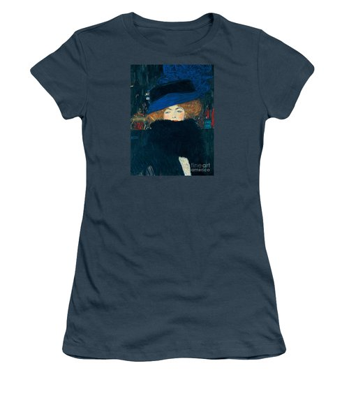 Lady With A Hat And A Feather Boa Women's T-Shirt (Junior Cut) by Gustav Klimt
