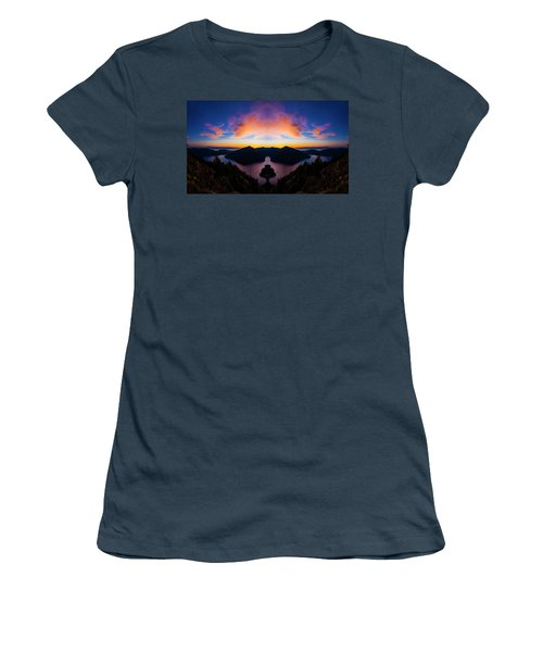 Lake Crescent Reflection Women's T-Shirt (Junior Cut) by Pelo Blanco Photo