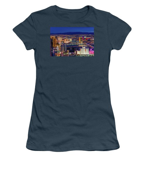 Women's T-Shirt (Junior Cut) featuring the photograph Las Vegas Strip From The Stratosphere Wide by Aloha Art