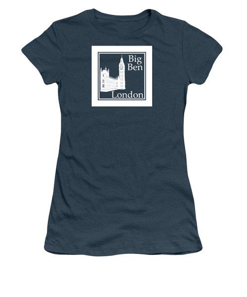 London's Big Ben In White - Inverse  Women's T-Shirt (Junior Cut) by Custom Home Fashions