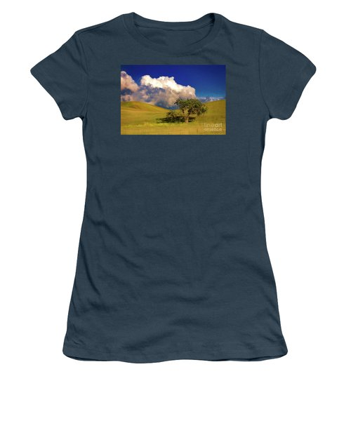 Women's T-Shirt (Junior Cut) featuring the photograph Lone Tree With Storm Clouds by John A Rodriguez