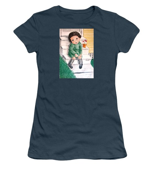 Lonley Girl On Back Step Women's T-Shirt (Junior Cut)