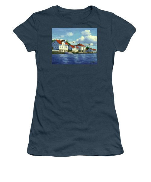 Women's T-Shirt (Junior Cut) featuring the painting Loshavn Village Norway by Janet King