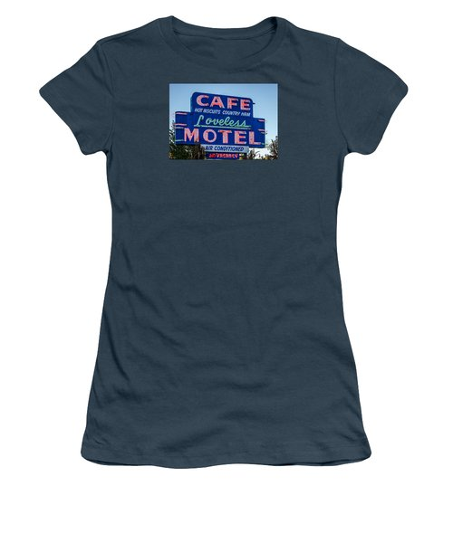 Loveless Cafe And Motel Sign Women's T-Shirt (Junior Cut) by Debra Martz