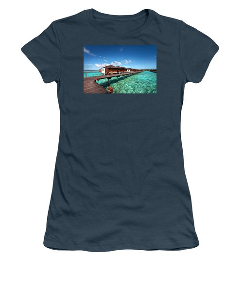 Women's T-Shirt (Junior Cut) featuring the photograph Luxury Water Villas Of Maldivian Resort by Jenny Rainbow