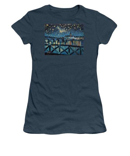 Mestreechter Staarenach Staryy Night Maastricht Women's T-Shirt (Junior Cut) by Nop Briex