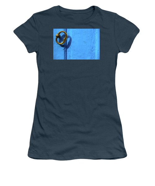 Women's T-Shirt (Junior Cut) featuring the photograph Metal Knob Blue Door by Prakash Ghai