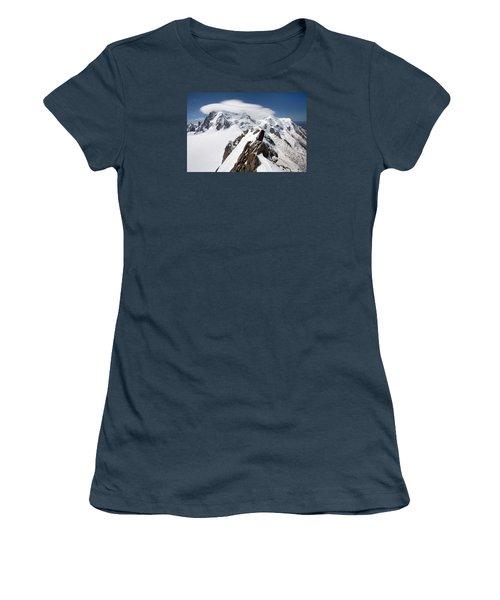 Mont Blanc And Ufo Women's T-Shirt (Junior Cut) by Aivar Mikko