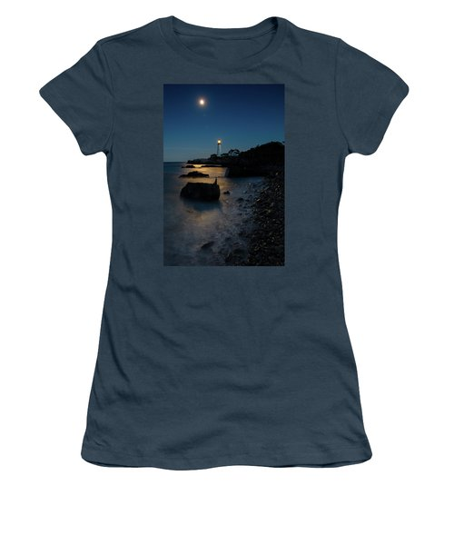 Women's T-Shirt (Junior Cut) featuring the photograph Moon Light Over The Lighthouse  by Emmanuel Panagiotakis