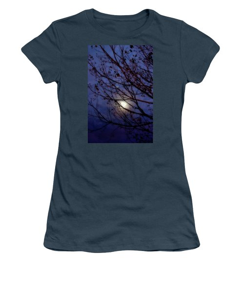Women's T-Shirt (Junior Cut) featuring the photograph Moonrise by Ellen Heaverlo