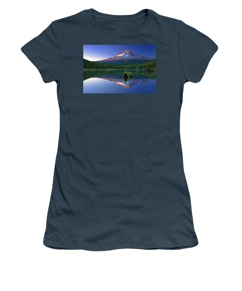 Women's T-Shirt (Junior Cut) featuring the photograph Mt. Hood Reflection At Sunset by William Lee