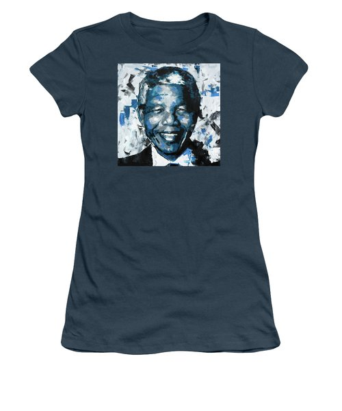 Women's T-Shirt (Junior Cut) featuring the painting Nelson Mandela II by Richard Day