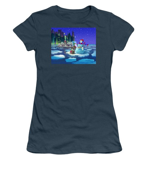 Women's T-Shirt (Junior Cut) featuring the painting New York Snowman by Michael Humphries