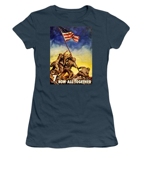 Now All Together Vintage War Poster Restored Women's T-Shirt (Junior Cut) by Carsten Reisinger