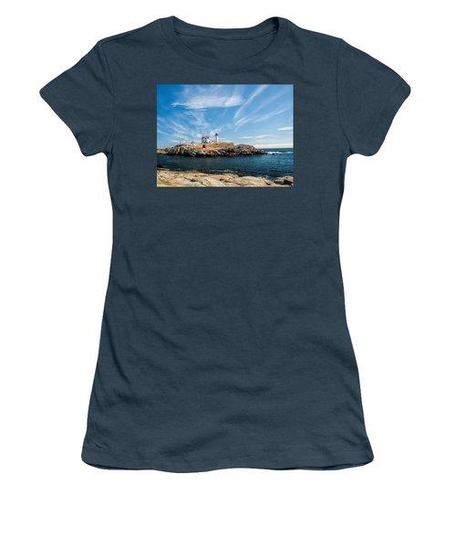 Nubble Lighthouse With Dramatic Clouds Women's T-Shirt (Junior Cut) by Nancy De Flon