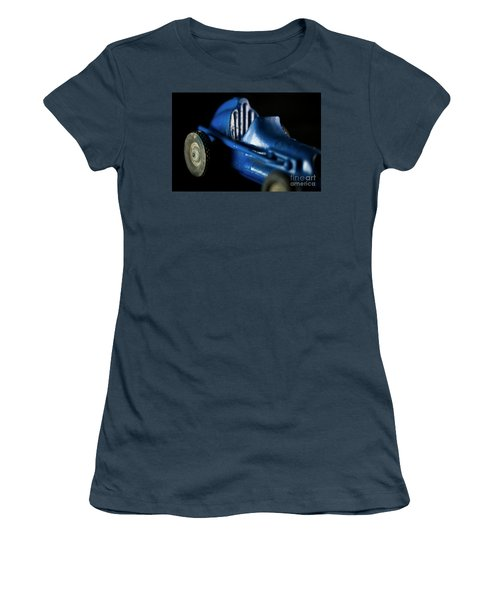 Women's T-Shirt (Junior Cut) featuring the photograph Old Blue Toy Race Car by Wilma Birdwell