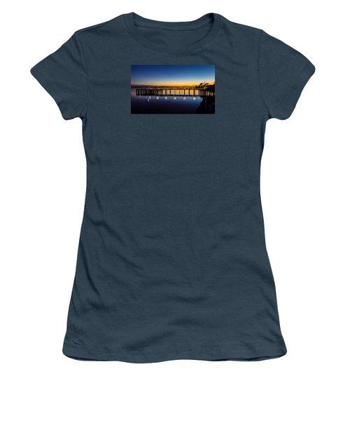 Old Town Pier Blue Hour Sunrise Women's T-Shirt (Junior Cut) by Rob Green
