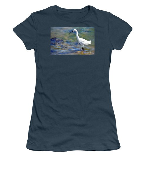 Patient Egret Women's T-Shirt (Junior Cut) by AJ Schibig