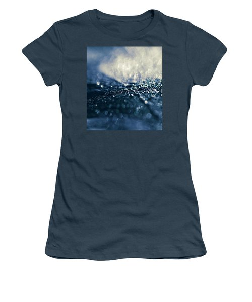 Women's T-Shirt (Junior Cut) featuring the photograph Peacock Macro Feather And Waterdrops by Sharon Mau