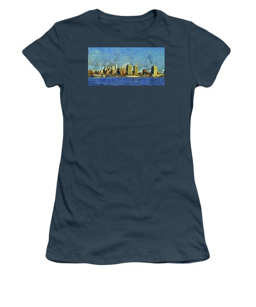 Women's T-Shirt (Junior Cut) featuring the mixed media Philly Skyline by Trish Tritz