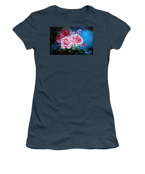 Pink Roses On Blue Women's T-Shirt (Junior Cut) by Jenny Lee