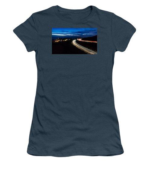 Point Vincente Light Trails Women's T-Shirt (Junior Cut) by Ed Clark