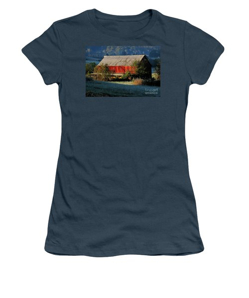 Women's T-Shirt (Junior Cut) featuring the photograph Red Barn by Douglas Stucky