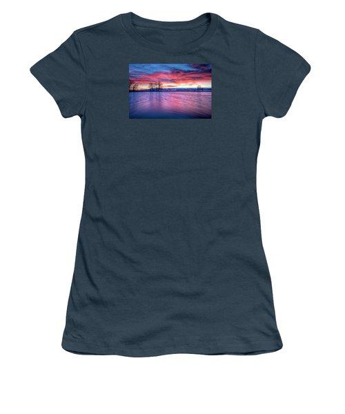 Red Dawn Women's T-Shirt (Junior Cut) by Fiskr Larsen