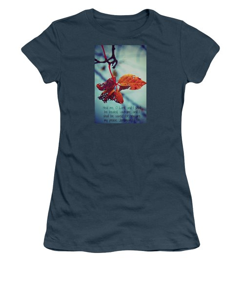 Women's T-Shirt (Junior Cut) featuring the photograph Red Leaf by Artists With Autism Inc