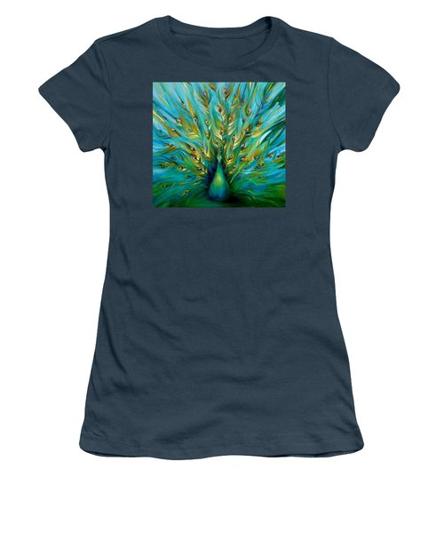 Women's T-Shirt (Junior Cut) featuring the painting Regal Peacock by Dina Dargo