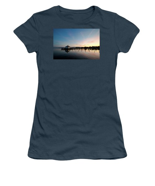 Roanoke Marshes Lighthouse At Dusk Women's T-Shirt (Junior Cut) by David Sutton