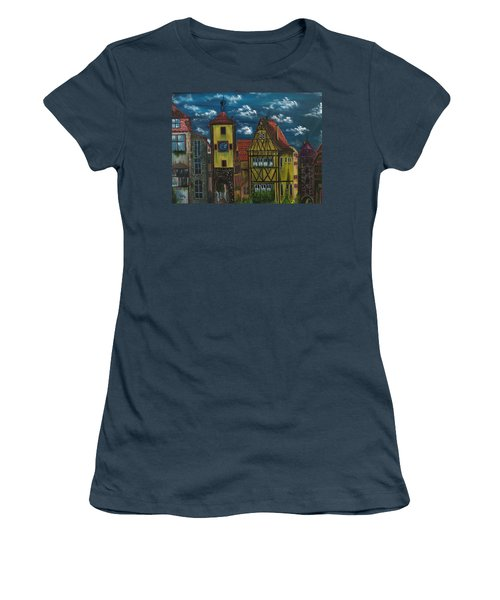 Women's T-Shirt (Junior Cut) featuring the painting Rothenburg Ob Der Tauber by The GYPSY And DEBBIE