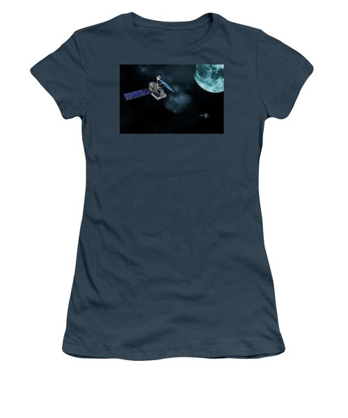 Women's T-Shirt (Junior Cut) featuring the photograph Satellites In Orbit Around The Moon by Christian Lagereek