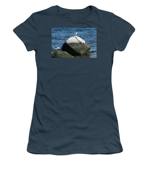 Women's T-Shirt (Junior Cut) featuring the digital art Singing Seagull by Barbara S Nickerson
