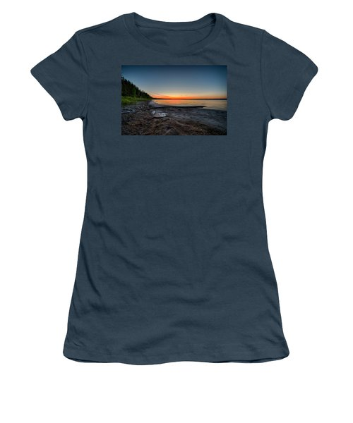 Women's T-Shirt (Junior Cut) featuring the photograph Skeleton Lake Beach At Sunset by Darcy Michaelchuk