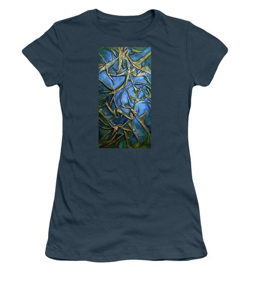Women's T-Shirt (Junior Cut) featuring the mixed media Sky Through The Trees by Angela Stout