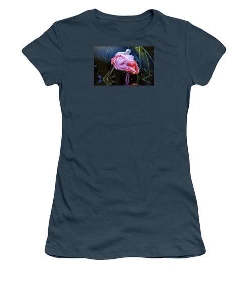 Women's T-Shirt (Junior Cut) featuring the photograph Spoonbill Fandance by Brian Tarr