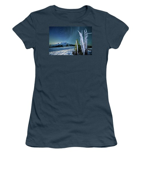 Women's T-Shirt (Junior Cut) featuring the photograph Star Trails Over Mt. Hood by William Lee
