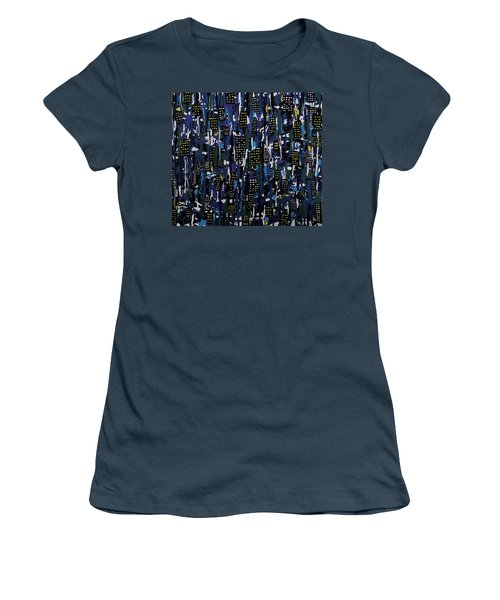 Women's T-Shirt (Junior Cut) featuring the painting Stormy Night In The City by Teresa Wing