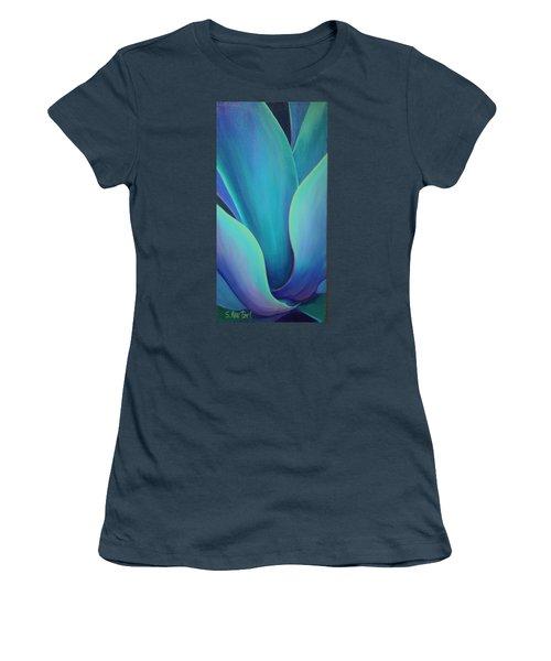 Women's T-Shirt (Junior Cut) featuring the painting Succulent Embrace by Sandi Whetzel